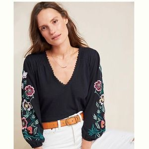 Anthropology Helene Flower Embroidered Peasant Top